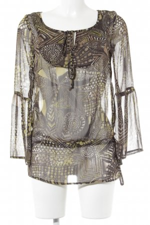 Xanaka Transparenz-Bluse abstraktes Muster Hippie-Look