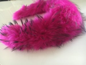 XL Echter Pelzkragen Pink-Schwarz