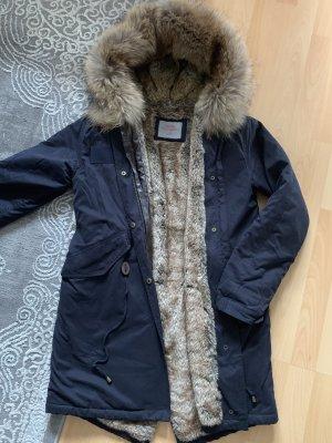 We Love Furs Bontjack donkerblauw-khaki