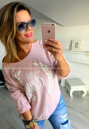 XL oversize Shirt Sweater Vokuhila Vintage Pulli Rose passt S-XL