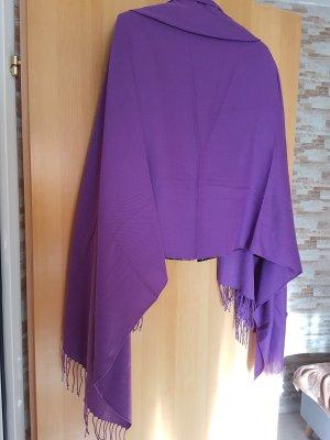 XL Schal in sattem violett/lila mit Fransen