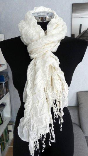 Écharpe à franges blanc cassé