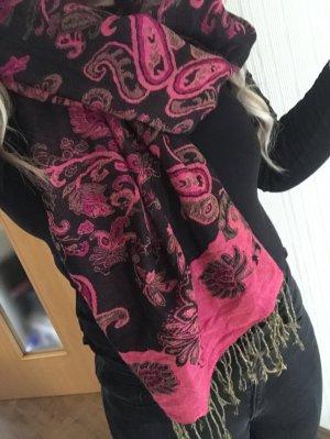 XL Schal Pink Beere Azteken Muster Orientalisch