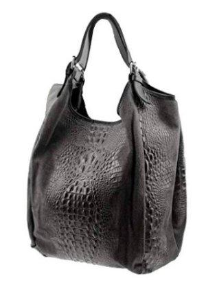 Shopper gris foncé cuir