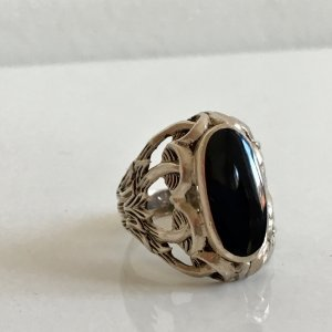 XL Sterling 925 Silberring onyx schwarz cabochon Vintage Silber Ring