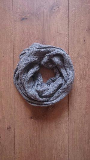 XL Strick Knit Woll Loop Rund Schlauch Schal grau