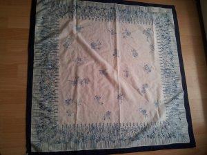 XL Tuch Halstuch quadratisch weiß blau Blumen