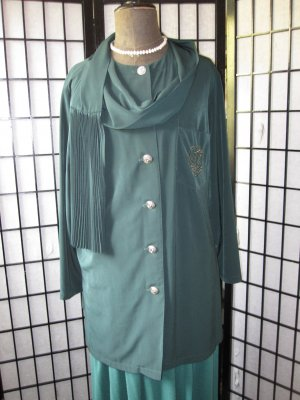 Long Blouse dark green-gold-colored