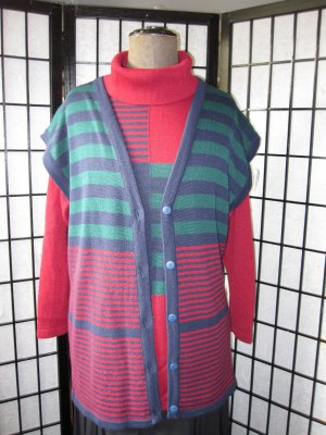 Knitted Twin Set multicolored new wool