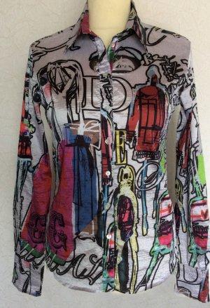 XS 34 36 DESIGUAL Designer Bluse elastisch silber bunt