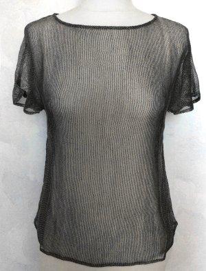 XS 34 36 JOOP shirt Pulli Top Netz Kettenhemdoptik silber grau