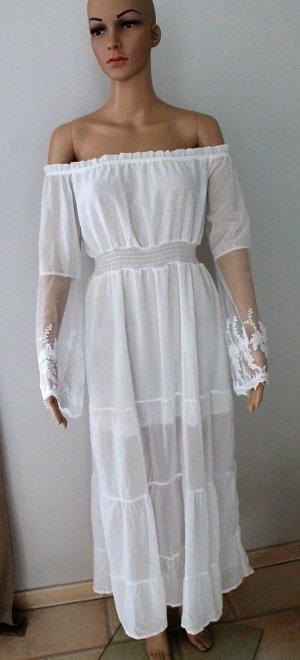 XS S M Sommerkleid Strand Kleid Maxikleid schulterfrei Off-Shoulder weiß lang durchsichtiger Stoff