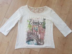 Xside Langarmshirt Longsleeve 3/4 Arm Shirt Venice Venedig Vintage Romantik Print Druck Wollweiß S 36