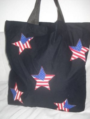 XXL American Flag Henkel Tasche Stoff Beutel Shopper schwarz Stars & Strips NEU