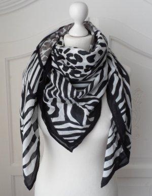XXL Animalprint Halstuch Tuch Schwarz Weiß Grau wenig getragen