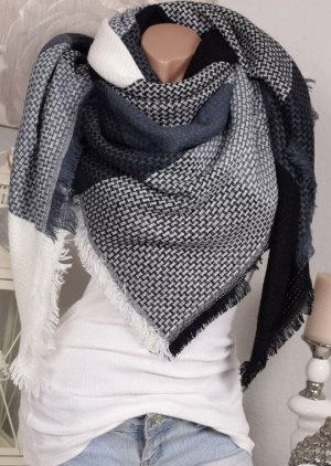 XXL Dreieckstuch Schal Bloggerschal Grau Weiß Meliert