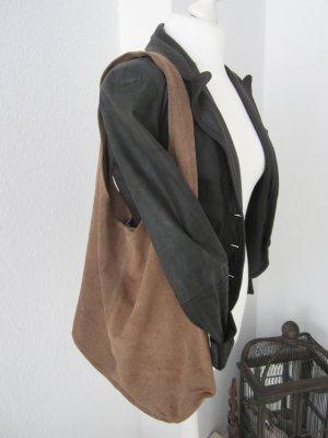 XXL echte Leder Tasche Boho-Beutel in taupe Wildleder Handtasche