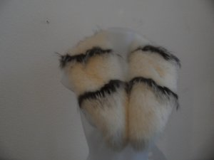 XXL FUCHS Streifen Weis Schwarz Kapuze echt Fell Pelz  kragen parka jacke