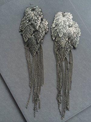 XXL Ohrringe Blätter Statement Ohrhänger Silber