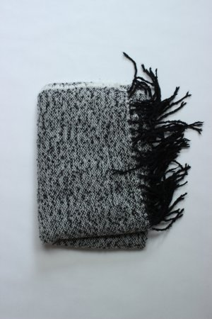 Zara Bufanda de punto blanco-negro Algodón
