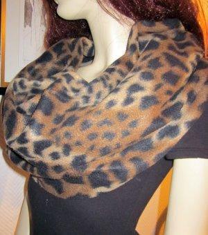 XXL Schal Winterschal Tuch Halstuch Schlauch Rundschal Leo Leopard Animal Print h m Scarf Tuch Stola camel cognac schwarz braun Fransen 2 Meter lang