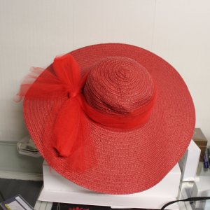 XXL Sommer Hut rot Schleife