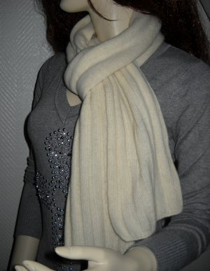Bufanda de punto blanco-crema Lana