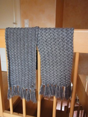 Opus Knitted Scarf light grey-grey