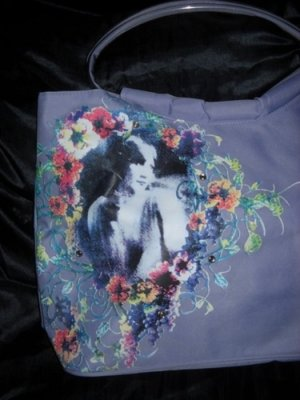 XXL Tasche Shopper h m Gemme Kemme Henkel Handtasche Bag lila flieder Blumen IN