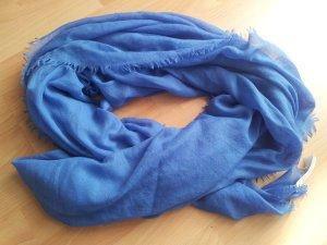 XXL Tuch blau mit silber Glitter Glitzer Fransen Quadrat