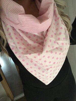XXL Unikat Schal Tuch Rosa Dots Rosa Weiß Punkte Dreieckstuch