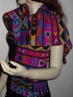 XXL Winter Schal Schlauch Ethno Aztek h m violett schwarz braun blau gelb Vlies