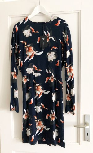 Y.A.S Kleid dunkelblau mit Orchieden-Muster, Gr. S, NEU