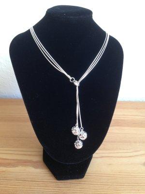 Y-Kette 3 Kugeln Schlangenkette 925 Silber Collier Kette Halskette Damenkette