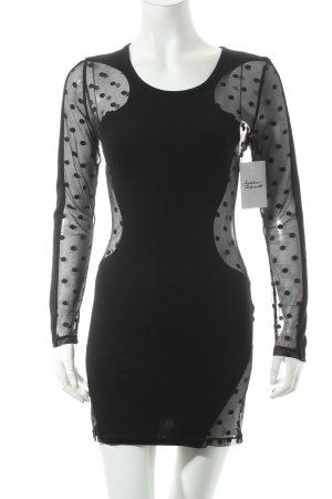 Y&Y Jerseykleid schwarz Punktemuster extravaganter Stil