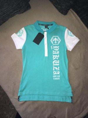Yakuza Polo Shirt Türkis/weiß S Neu