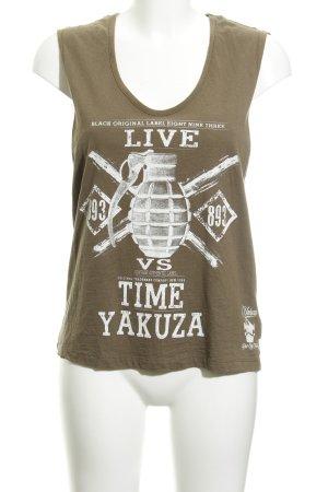 Yakuza Trägertop grüngrau Motivdruck Vintage-Look