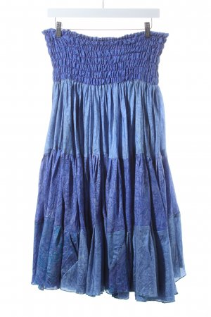 Yamuna Seidenrock blau-blauviolett Paisleymuster Hippie-Look