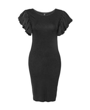 YAS Kleid schwarz Rüschenärmel neu 36