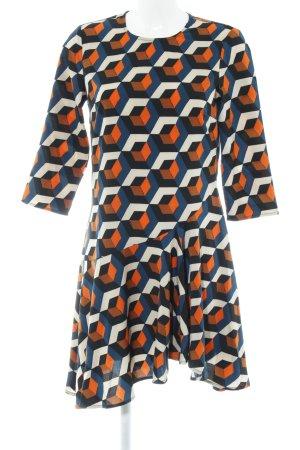 YAS Langarmkleid abstraktes Muster 70ies-Stil