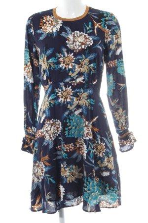 YAS Langarmkleid dunkelblau Blumenmuster Casual-Look