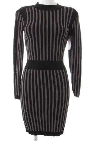 YAS Langarmkleid schwarz-graubraun Streifenmuster schlichter Stil