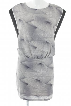 YAS Minikleid hellgrau-schwarz grafisches Muster Casual-Look