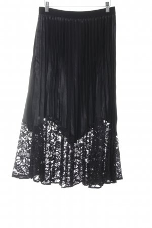 YAS Pleated Skirt black floral pattern wet-look