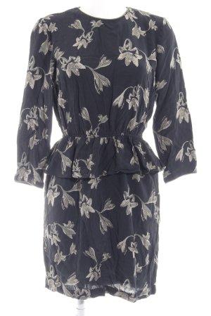YAS Peplum Dress dark blue-sage green floral pattern casual look