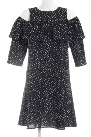 YAS schulterfreies Kleid weiß-schwarz Punktemuster Rüschenbesatz