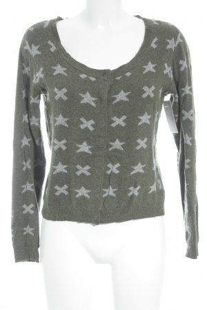 Yaya Cardigan hellgrau-khaki grafisches Muster Business-Look
