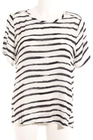 Yaya Kurzarm-Bluse schwarz-weiß Streifenmuster Casual-Look