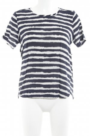 Yaya Kurzarm-Bluse weiß-dunkelblau Streifenmuster Casual-Look
