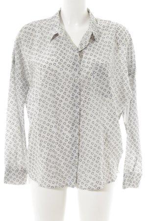 Yaya Langarmhemd blassblau-grau grafisches Muster klassischer Stil